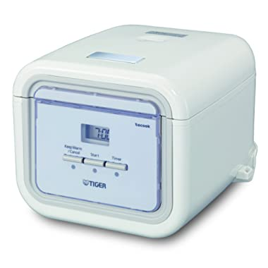 Tiger JAJ-A55U WS 3-Cup (Uncooked) Micom Rice Cooker with Slow Cook, Steam, & Cake Bake, White