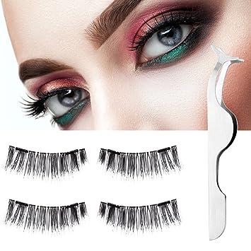 940a1adab1c Amazon.com : Double Dual Magnetic Eyelashes, Luxspire 4PCS 3D Reusable  Magnet Long Extension Magnetic False Eyelashes Fake Eyelash No Glue  Required for ...