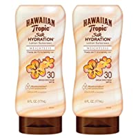 Hawaiian Tropic SPF 30 Broad Spectrum Sunscreen, Silk Hydration Weightless Moisturizing Sunscreen Lotion, 6 Fl Oz, Twin Pack