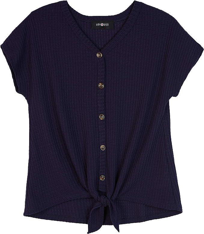 Amy Byer Girls Big Short Sleeve Henley Tie Front Top