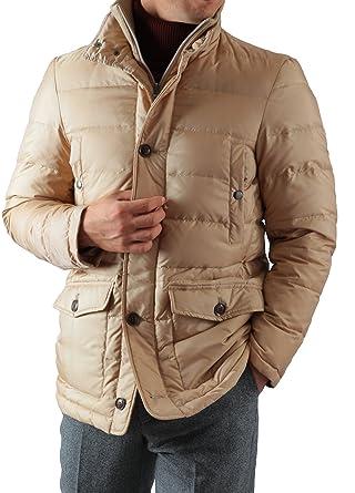 4dd2ba2bbfac0 Amazon   メンズ スタンドカラー ダウンジャケット ベージュ Sサイズ   コート・ジャケット 通販