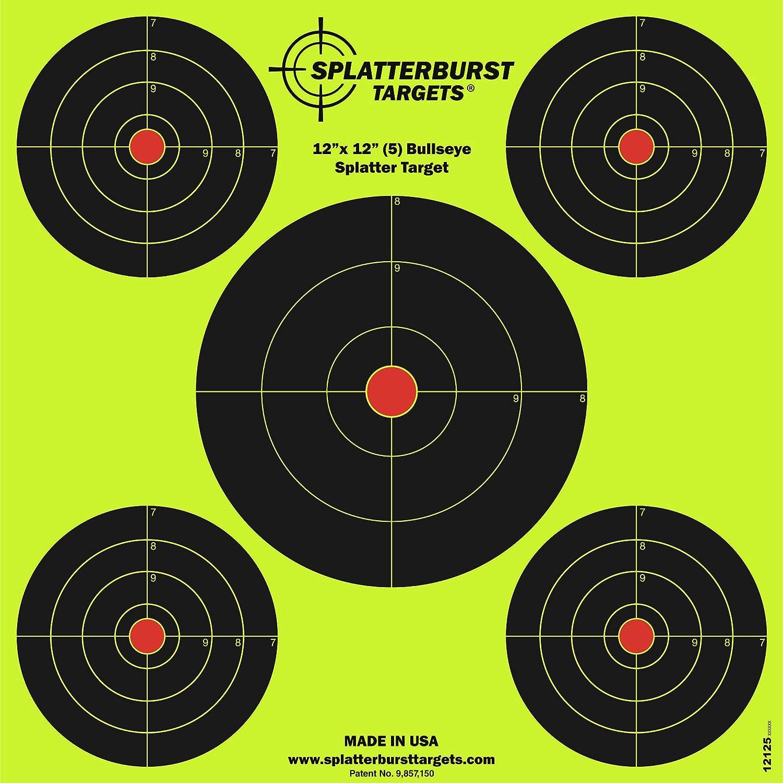 Splatterburst Targets - 12 x12 inch (5) Bullseye Reactive Shooting Target - Shots Burst Bright Fluorescent Yellow Upon Impact - Gun - Rifle - Pistol - Airsoft - BB Gun - Air Rifle : Sports & Outdoors