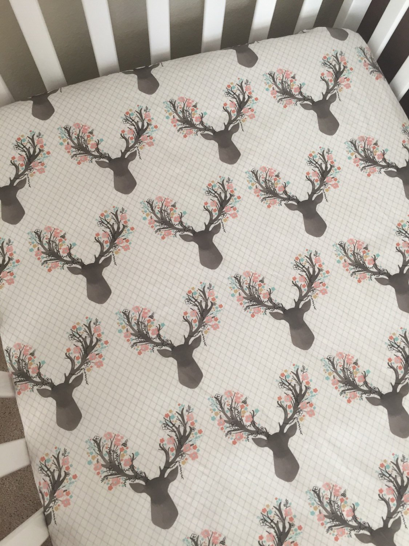Floral Deer Crib Sheet