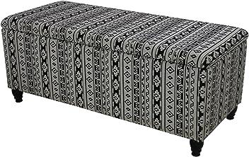 Kosta Fabric Storage Ottoman, Black and White Print
