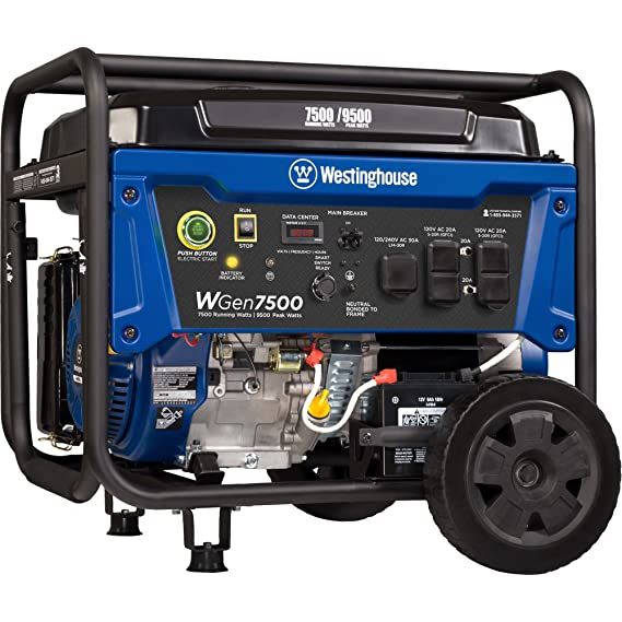Westinghouse WGen7500 Portable Generator with Remote Electric Start - 7500  Rated Watts & 9500 Peak Watts - Gas Powered - CARB Compliant - Transfer