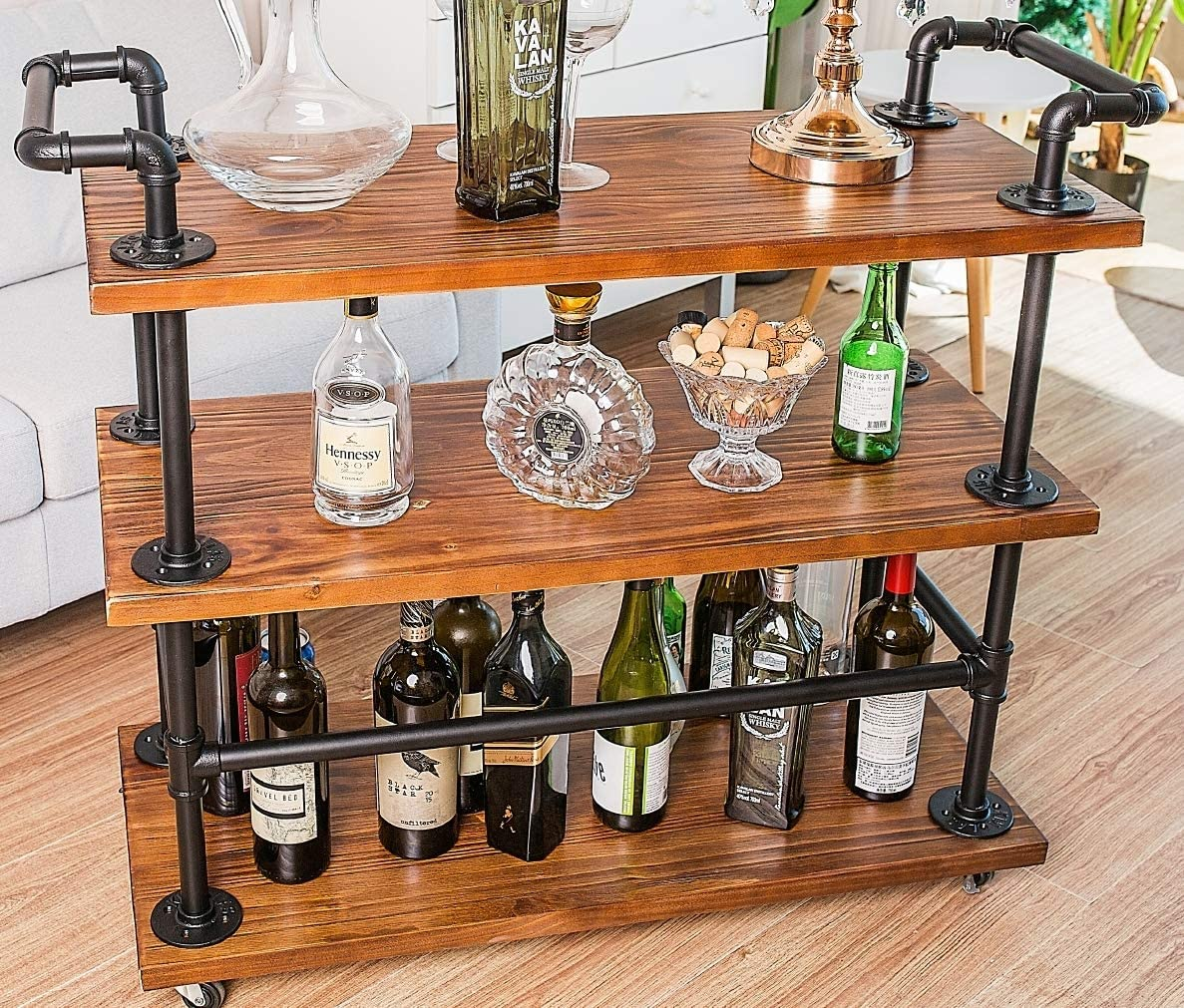 DOFURNILIM Best Bar Carts Serving Carts Kitchen Carts Wine Rack Carts on Wheels with Storage – Industrial Rolling Carts – Wine Tea Liqueur Shelves Holder – Solid Wood and Metal Home Furniture