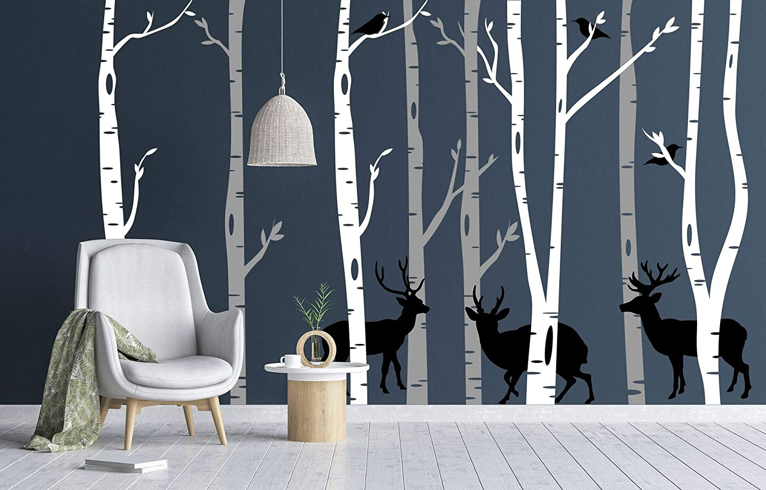 Birch Tree Wall Decal for Living Room | Nursery Tree Vinyl Peel & Stick Mural | Diy Wall Art Stickers Nature Woodland Scene Designed With Deer & Birds (3 White & 3 Grey Trees + 3 Deer)