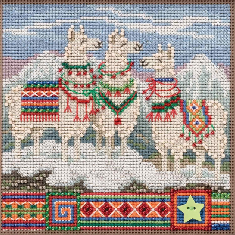 FA La La Llamas Beaded Counted Cross Stitch Kit Mill Hill Buttons /& Beads 2019 Winter Series MH141935