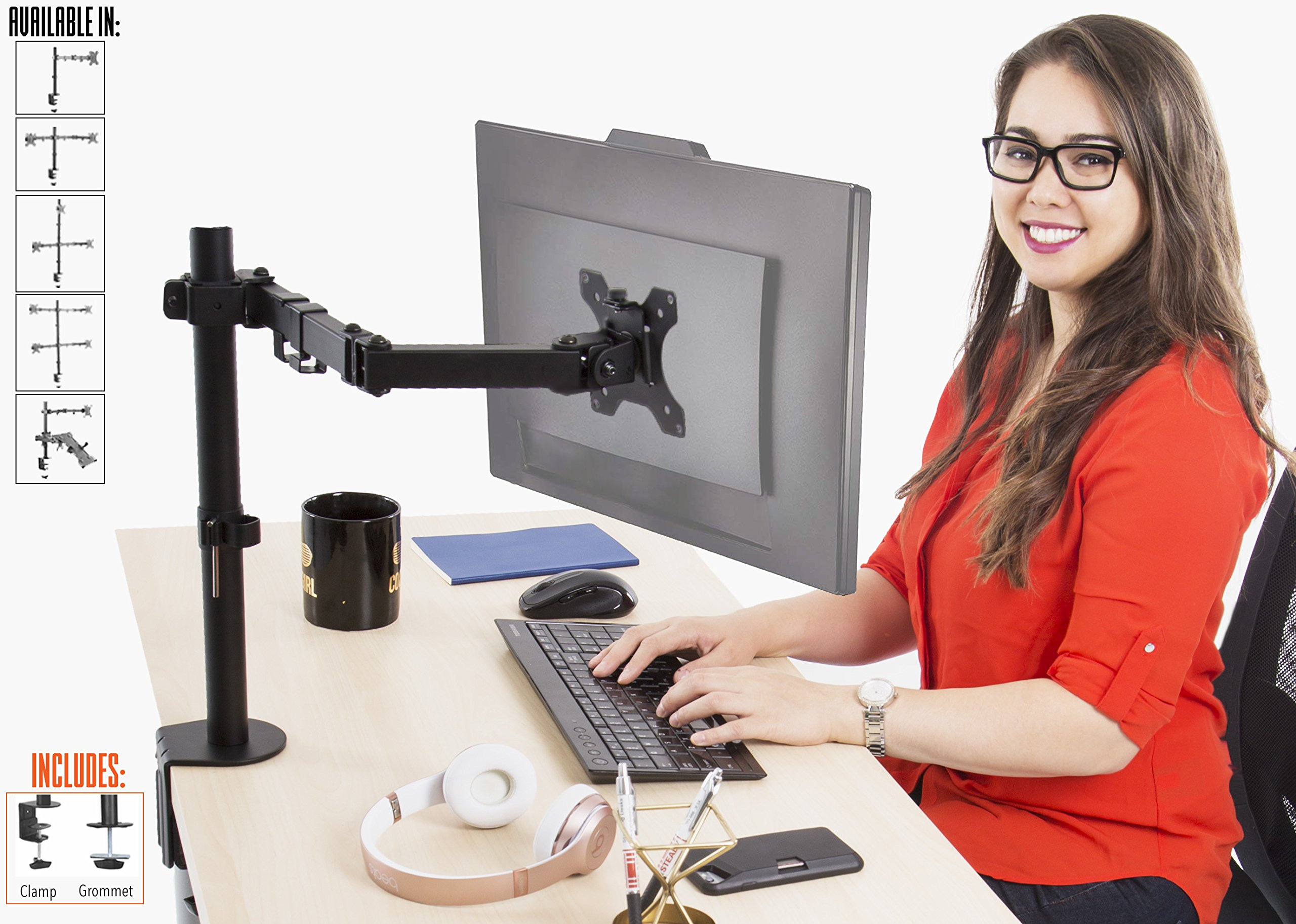Stand Steady Single Monitor Desk Mount Stand | Height Adjustable 1 Monitor Stand with Full Articulation and Desk Clamp or Grommet | VESA Mount Fits Most LCD/LED Monitors 13-32 inches (1 Arm Clamp)