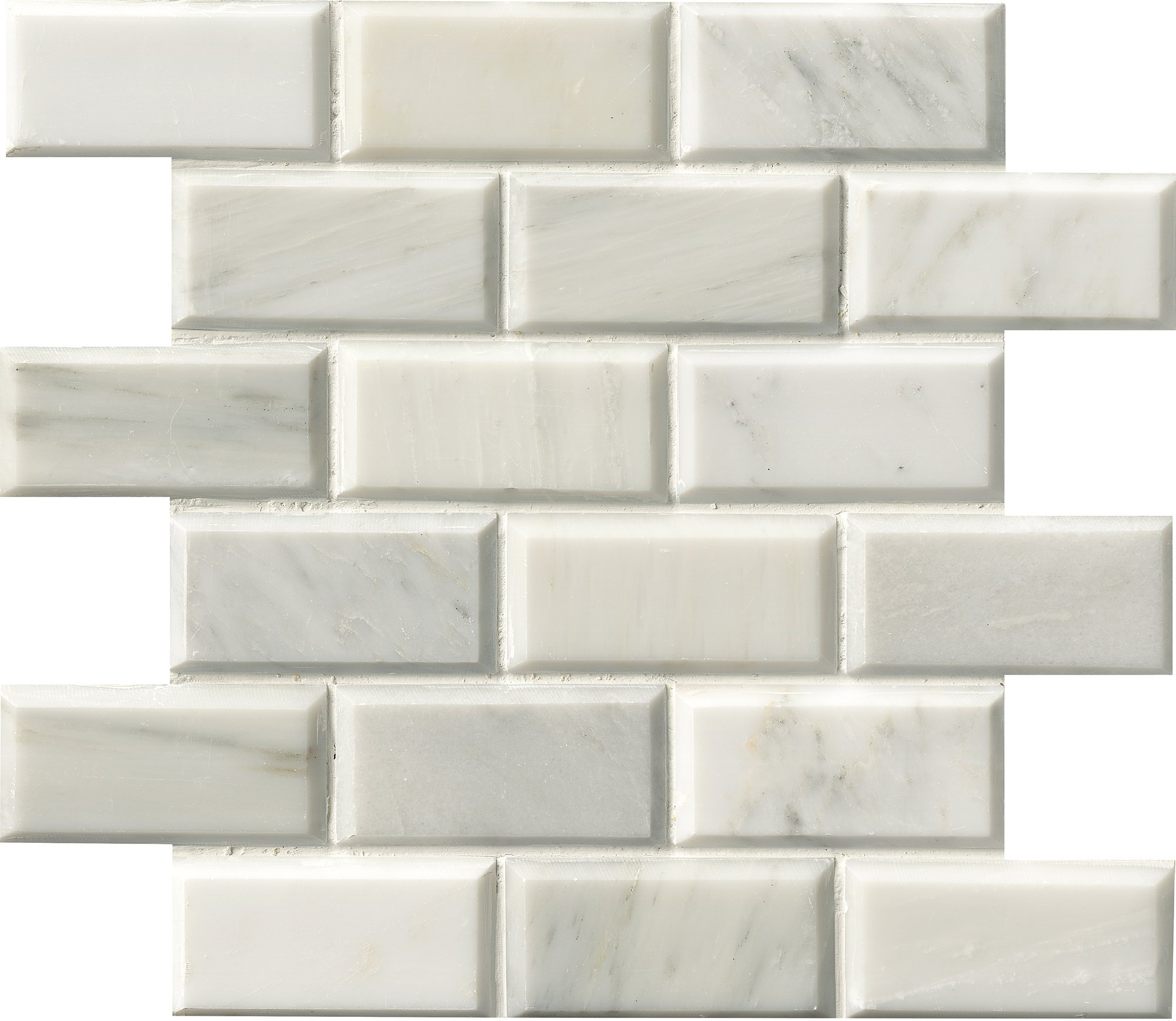 M S International Arabescato Carrara 12 In. X 12 In. Polished Beveled Marble Mesh-Mounted Mosaic Floor And Wall Tile, (10 sq. ft., 10 pieces per case)