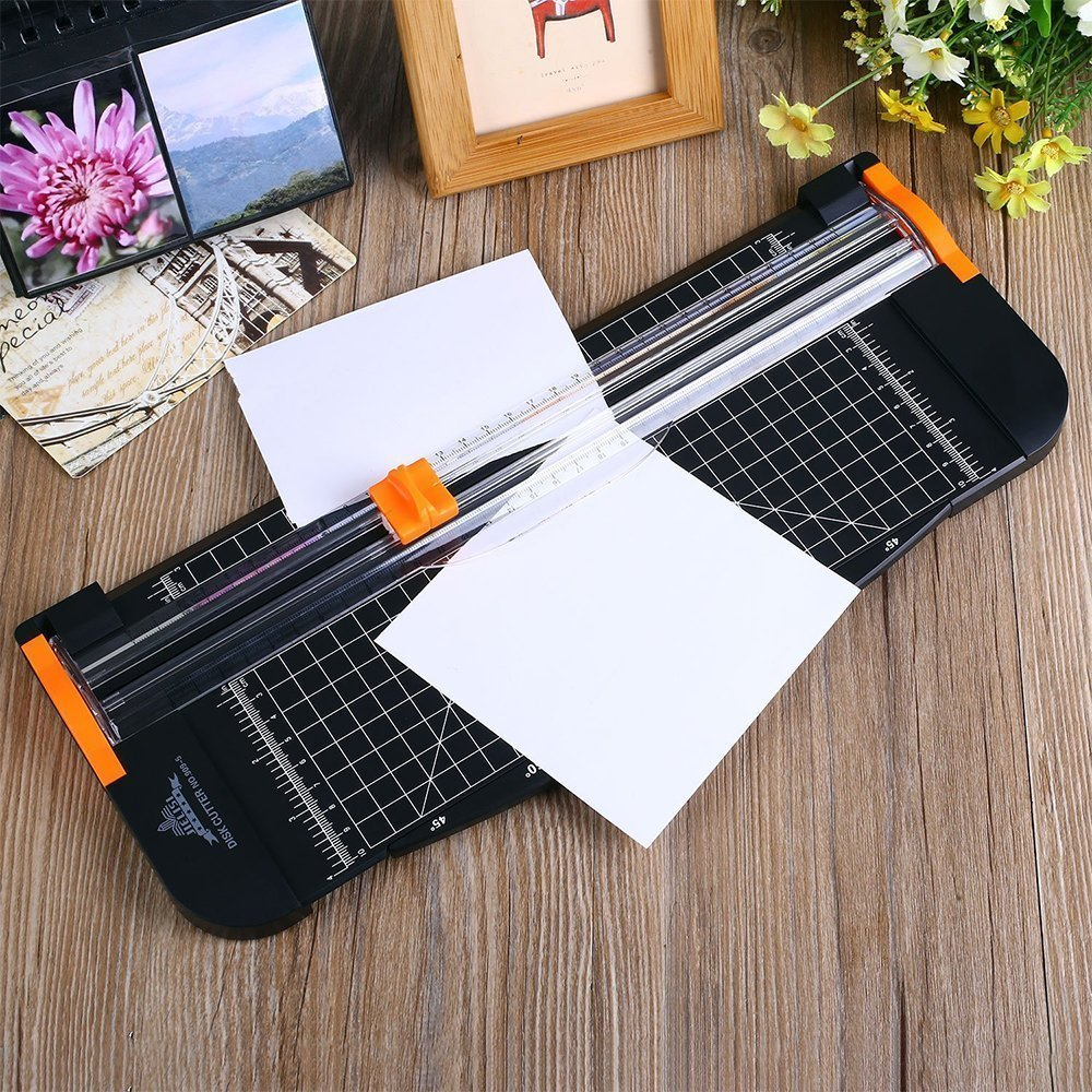 Black JIELISI Paper Trimmer A4 Titanium Paper Guillotines Scrapbooking with Finger Protection and Slide Ruler Design