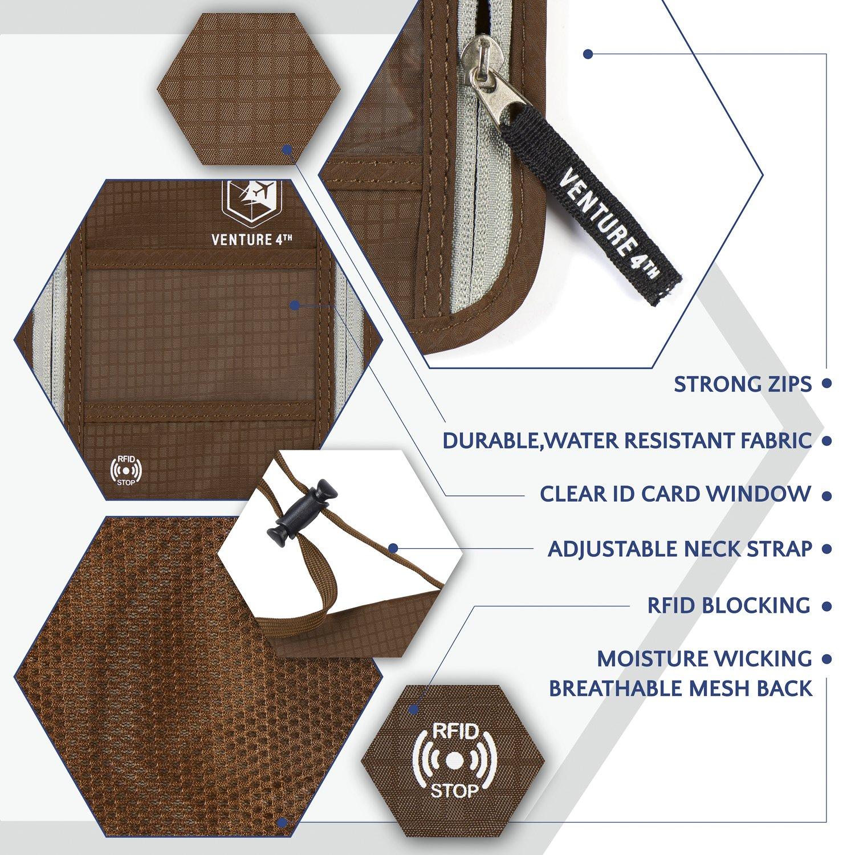 Venture 4th Passport Holder Neck Pouch With RFID – Safety Passport Pouch (Brown) by VENTURE 4TH (Image #5)