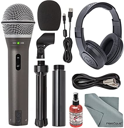 Mac and 3-FT USB 2.0 Type-A Extension Cable 6 Dimmable Selfie Ring Light and iOS Devices Bundle with Blucoil Pop Filter Windscreen Samson Q2U Dynamic Microphone for Windows