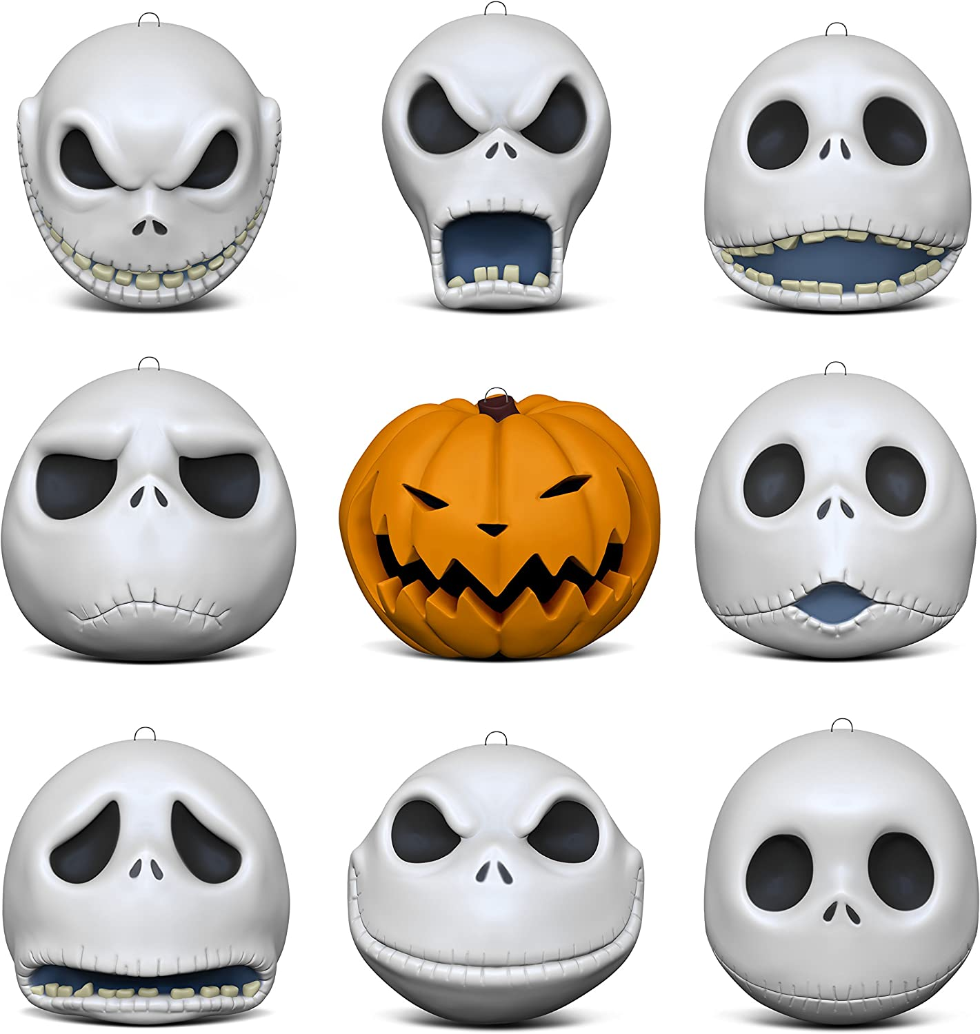 Amazon Com Hallmark Keepsake Christmas Ornaments 2018 Year Dated Tim Burton S The Nightmare Before Christmas The Many Faces Of Jack Skellington 25th Anniversary Porcelain Set Of 9 Home Kitchen