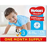 Huggies Ultra Dry Nappies, Boys, Size 3 Crawler (6-11kg), 176 Count, One-Month Supply, (Packaging May Vary)