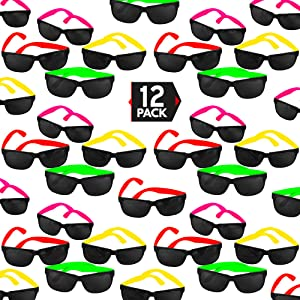 Big Mo's Toys 12 Pack 80's Style Neon Party Sunglasses – Fantastic Party Pack Favors, Party Toys for Goody Bags