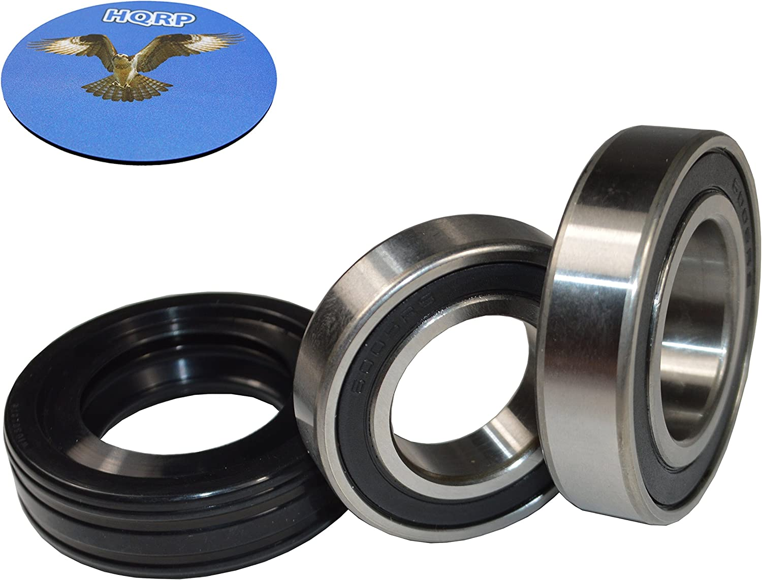 HQRP Bearing and Seal Kit for Whirlpool WTW6200SW0 WTW6200SW1 WTW6200SW2 WTW6200SW3 WTW6200VW0 WTW6300SB0 WTW6300SB1 WTW6300SG0 WTW6300SG1 WTW6300SW0 WTW6300SW1 WTW6300WW0 Washer Tub + HQRP Coaster