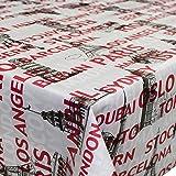 ANRO Hule Cera Mantel encerado mantel mantel Ciudades Ciudad claro tamaño a elegir, plástico, sättige, beständige…