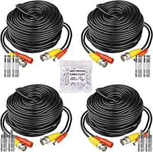 HISVISION 4 Pack 100ft BNC Video Power Cable, Security Camera Wire Cord Extension Cable with 8pcs BNC Connectors and 100pcs Cable Clips for CCTV DVR Surveillance System