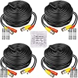 HISVISION 4 Pack 100ft BNC Video Power Cable Security Camera Wire Cord Extension Cable with 8pcs BNC Connectors and…