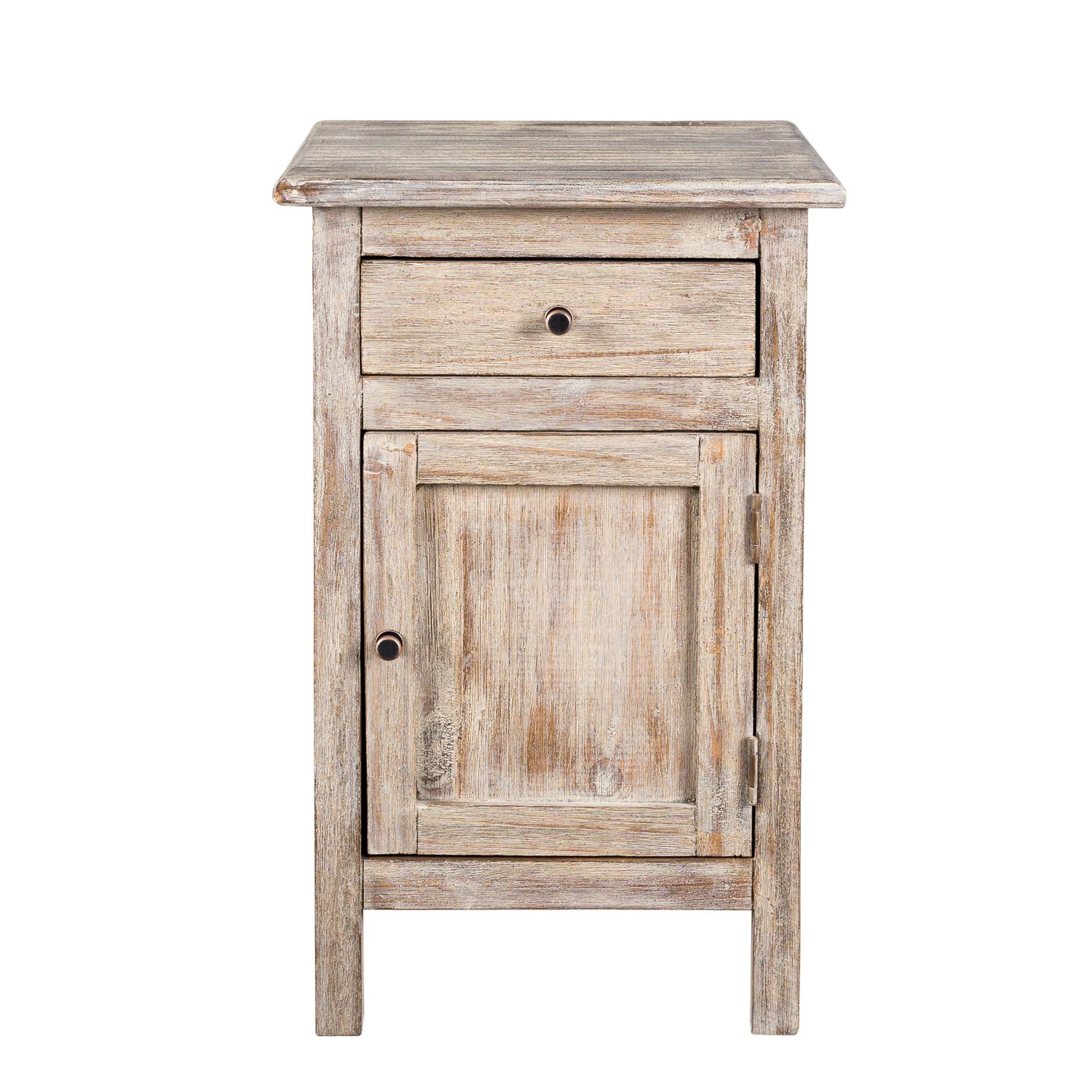 Handmade Molina 1-Drawer Off White Wood End Table