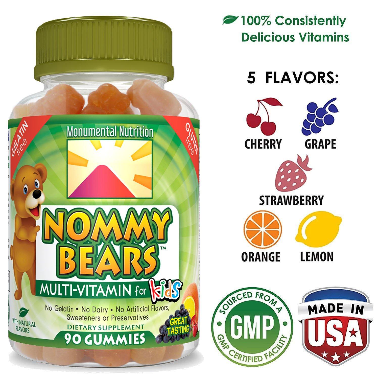 Nommy Bears Gelatin Free Multivitamin Gummies for Kids (& Adults too) | Vegetarian Gummy Vitamins for Men, Women, Children | Gluten-Free, Dairy-Free | 100% Natural, Non-GMO | Kosher & Halal Friendly