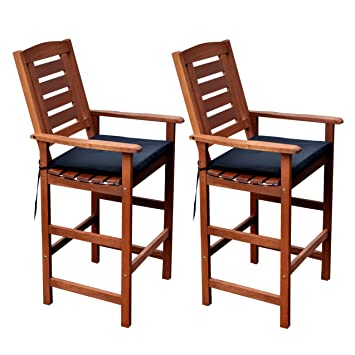 CorLiving PEX 263 C Miramar Hardwood Outdoor Bar Height Chairs (Set Of 2