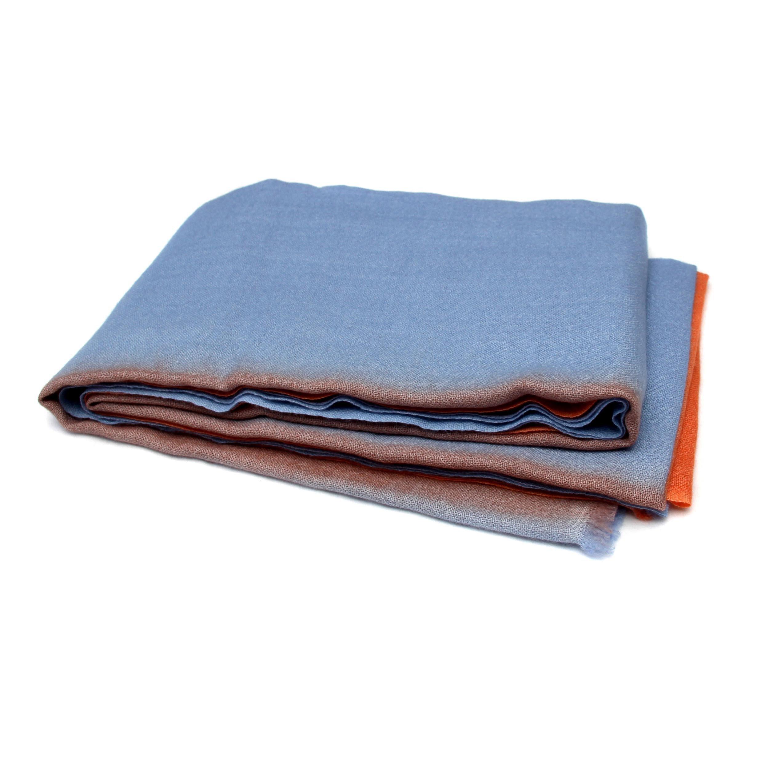 100% Cashmere Ombre Stole, (100/2 Mongolian Yarn Composition) Blue and Orange Ombre Lightweight Stole, Light Brown border © Moksha Cashmere