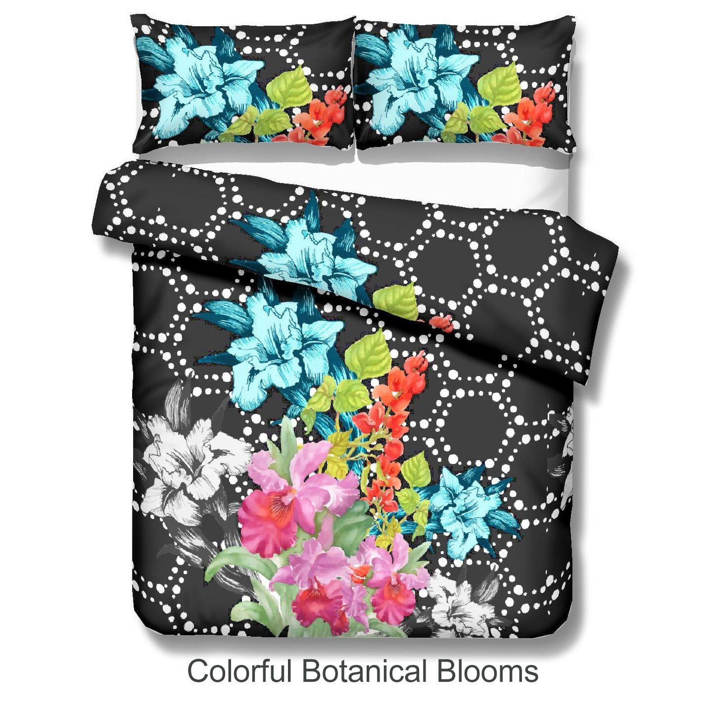 3 Pieces Elegant Watercolor Floral Pattern Duvet Cover Set Colorful Lilies and Rhododendrons Botanical Blooms Duvet Quilt Cover Twin