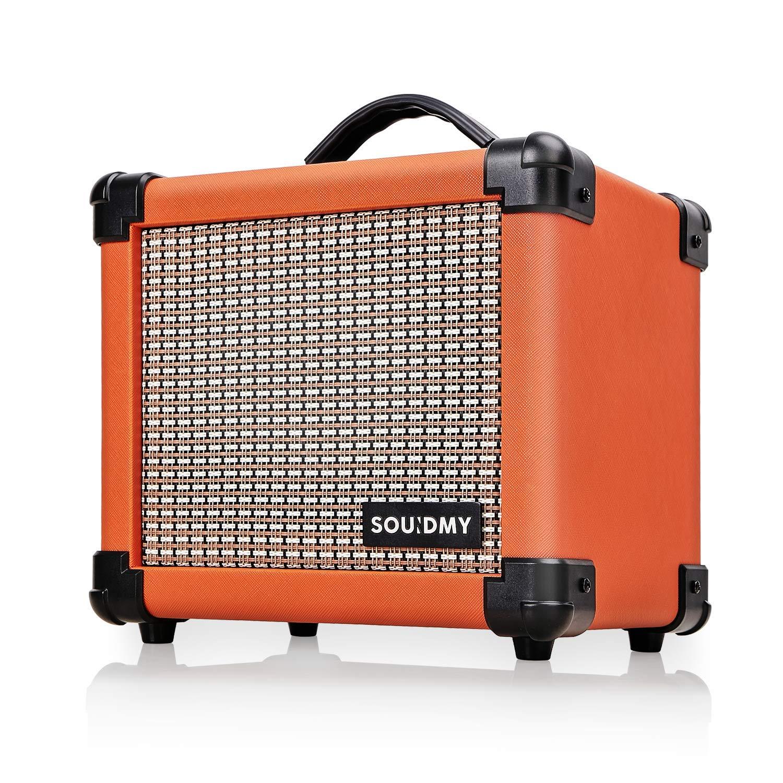Souidmy Dual-Powered Guitar Amp, Portable Electric Guitar Amplifier with 10W Speaker, Guitar Amplifier includes Gain/Bass/Treble knob (Carrot Orange)