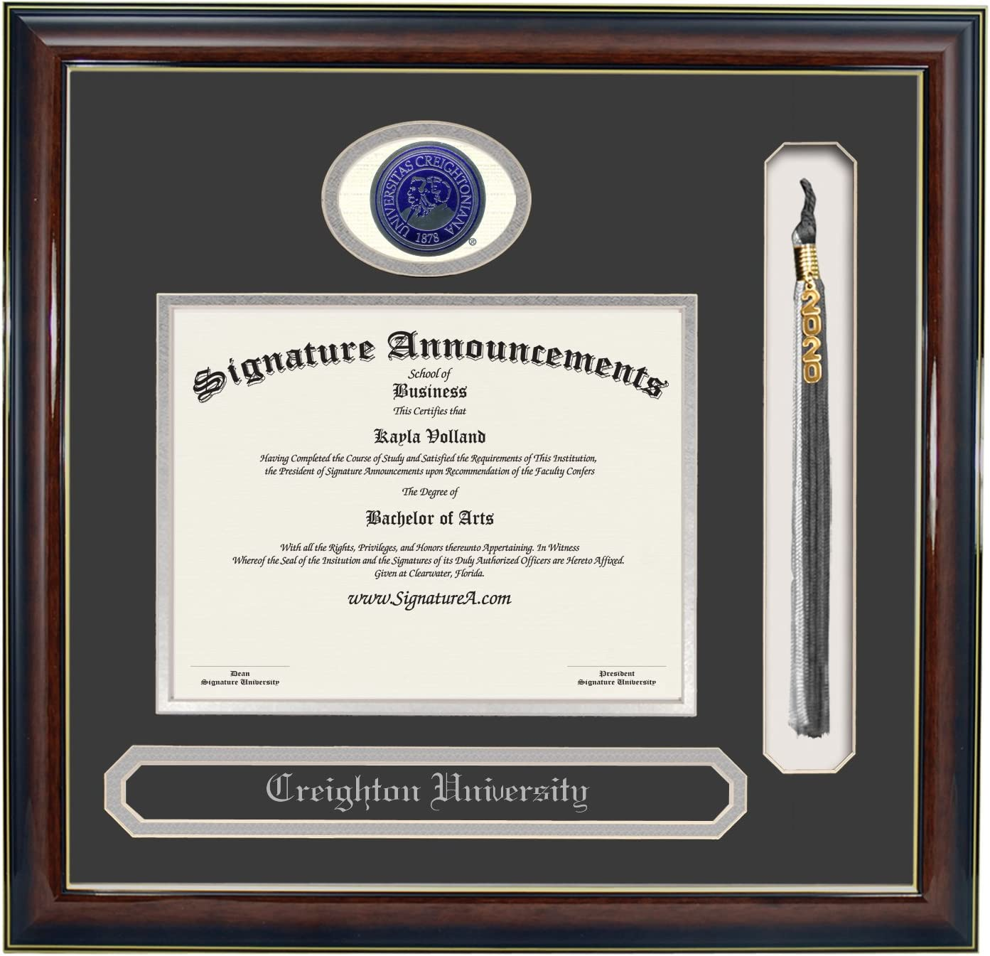 Gloss Mahogany w//Gold Accent, 16 x 16 Name /& Tassel CU Undergraduate and Graduate Graduation Diploma Frame with Sculpted Foil Seal Signature Announcements Creighton University