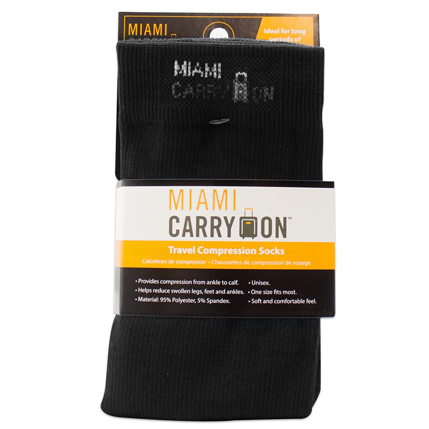 Amazon.com: Miami CarryOn Compression Socks - Best Socks for Travel, Running, Athletes, Pregnancy, Medical, Varicose Veins, Edema, Diabetic - One Size ...