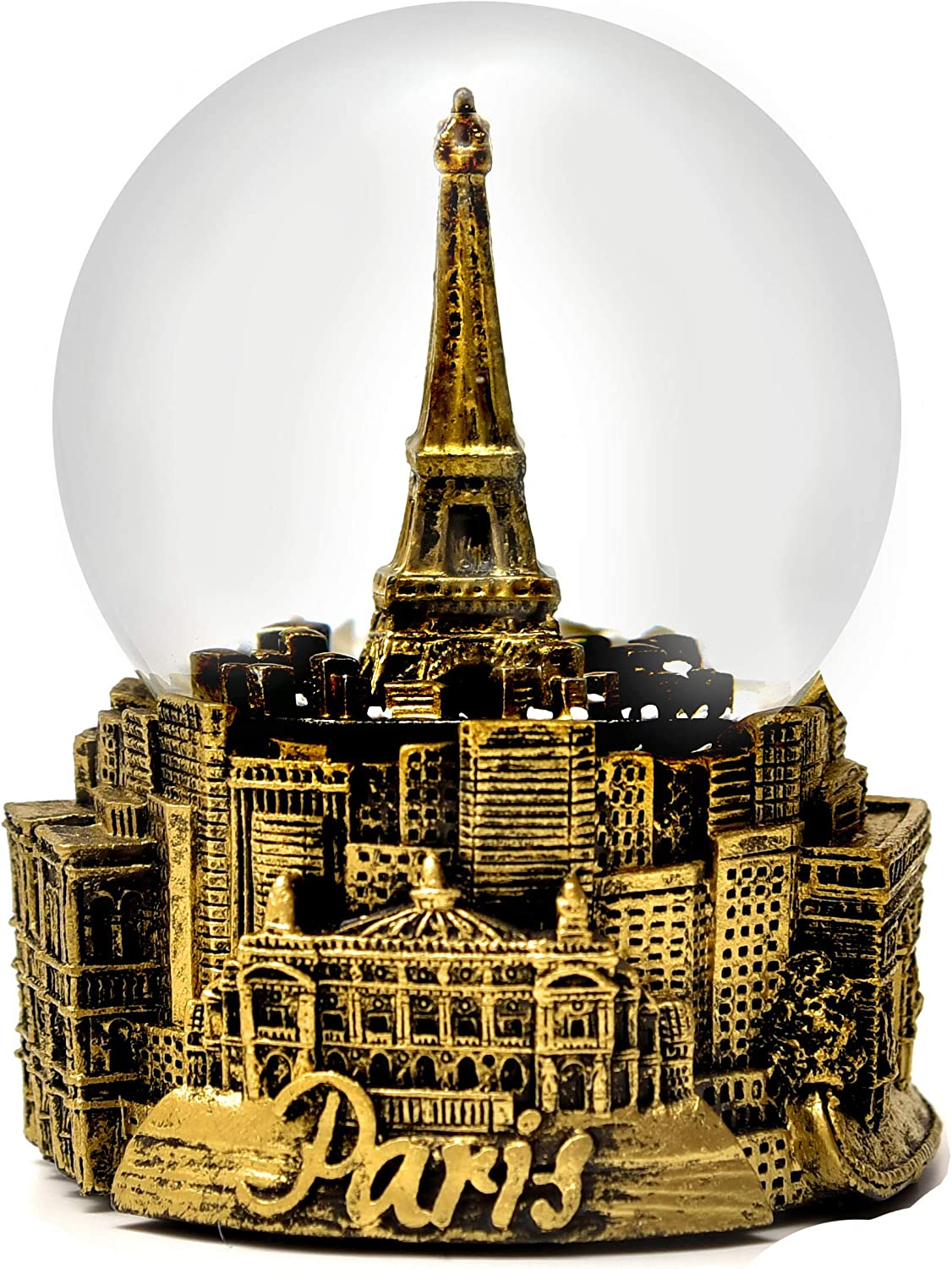 Paris France Eiffel Tower Gold Tone Snow Globe 65mm