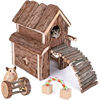 Elipark Small Animal Activity Toy Hamster Houses Hideouts Wooden Rat Playground Platform with Ladders Bridge for…