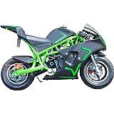V-Fire 4-Stroke 40CC Kids Gas Pocket Bike (EPA Registered), Green/Black
