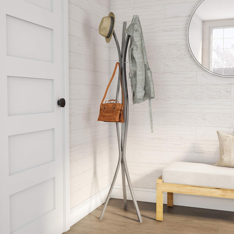 Lavish Home Modern Twist Freestanding Metal Hall Tree Coat Rack, Silver