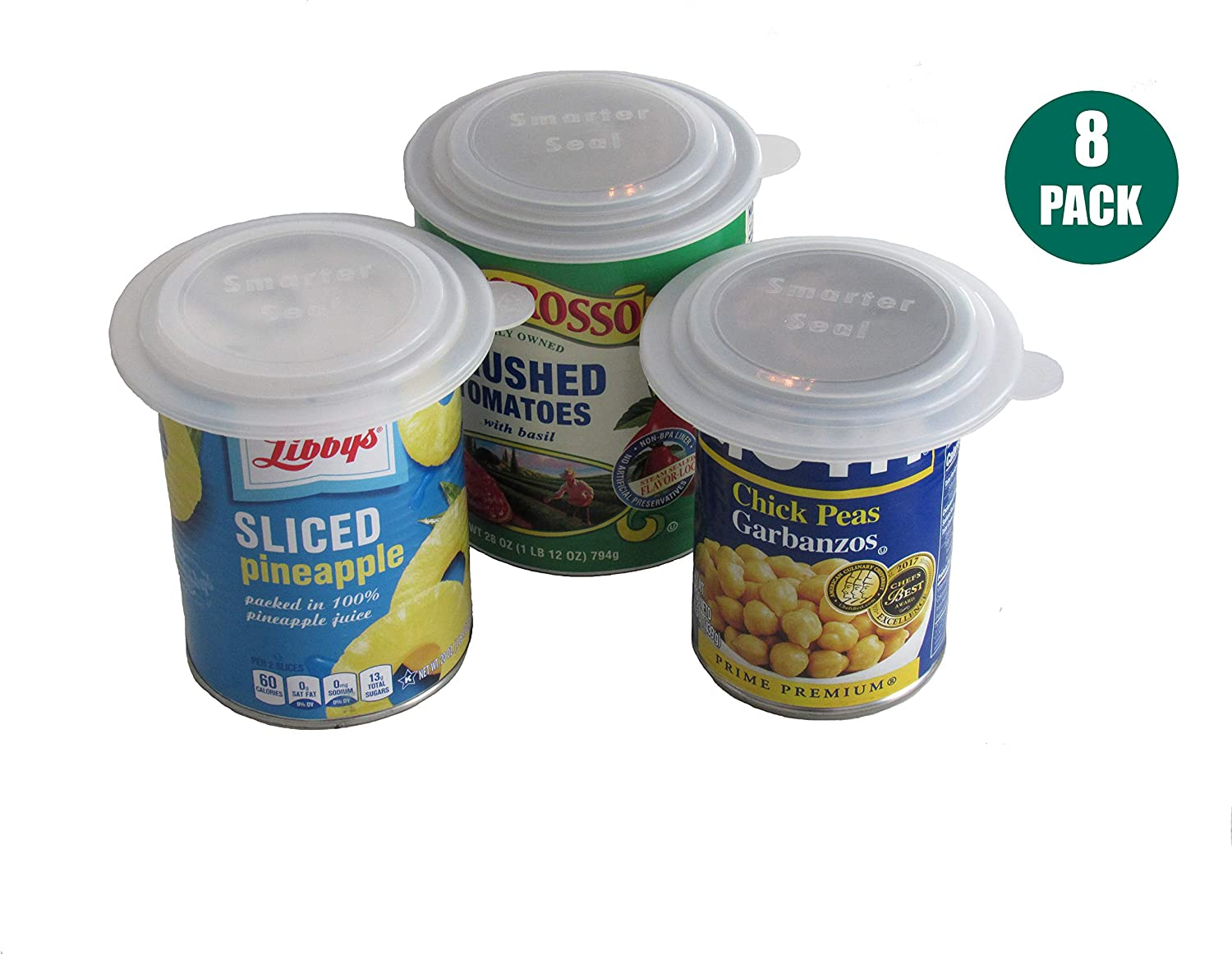 Smarter-Seal, Food Can Lids/Covers, 8-Pack, Clear Color, 4 Small Lids & 4 Large Lids - Fits Most Sizes