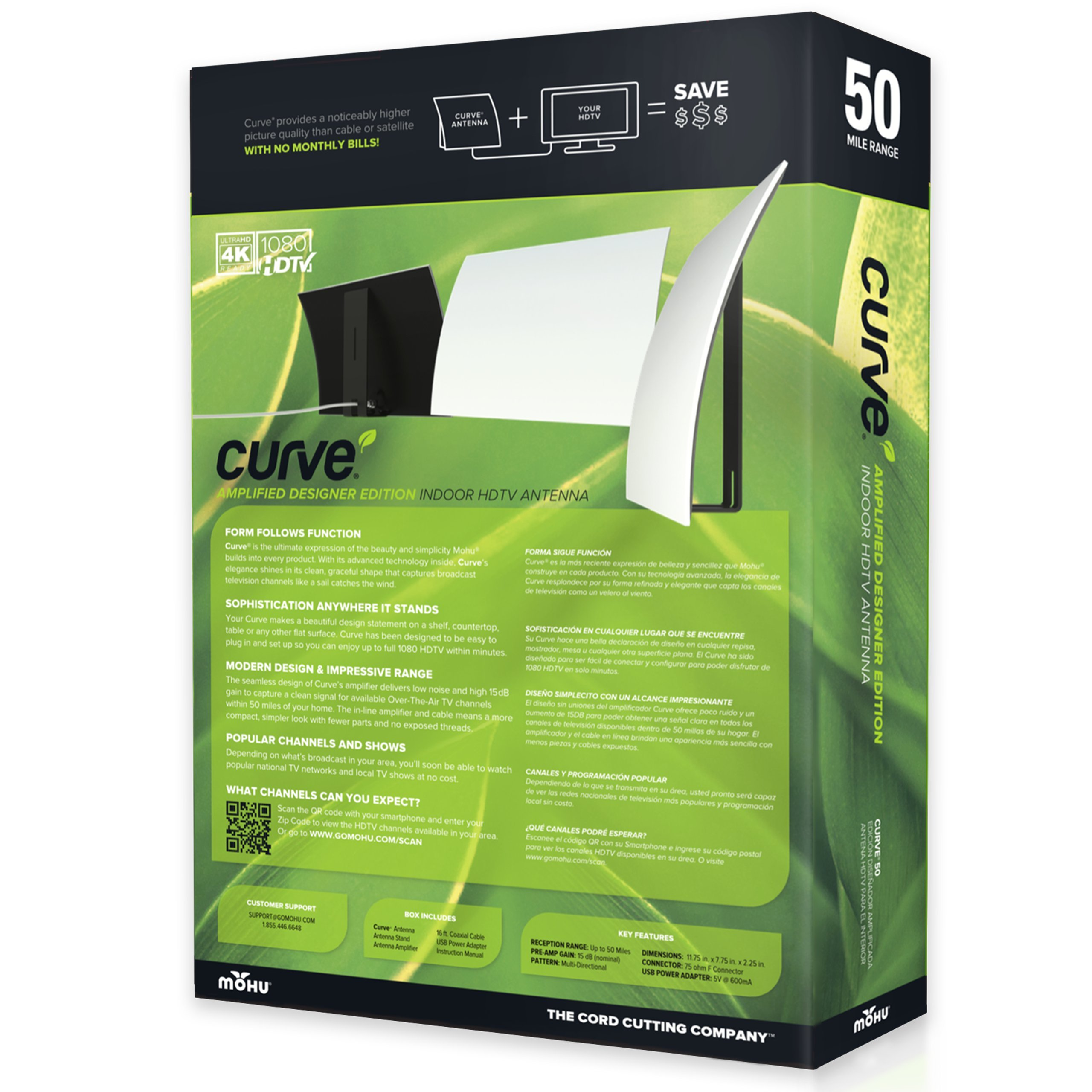 Mohu Curve 50 TV Antenna Indoor Amplified 50 Mile Range Modern Design 4K-Ready HDTV Premium Materials for Performance