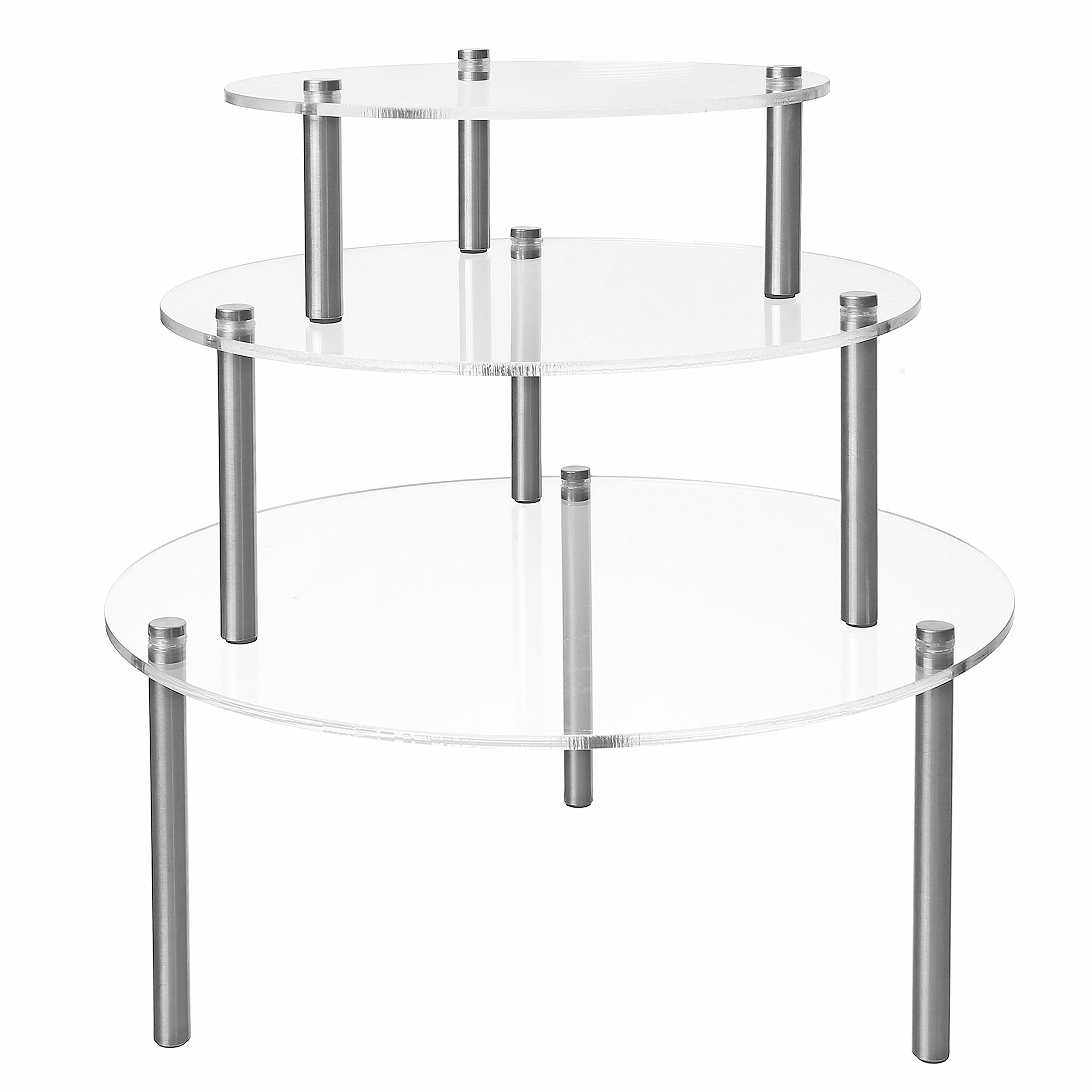 MyGift Set of 3 Round Clear Acrylic Retail Display Risers, Dessert & Bakery Stand by MyGift