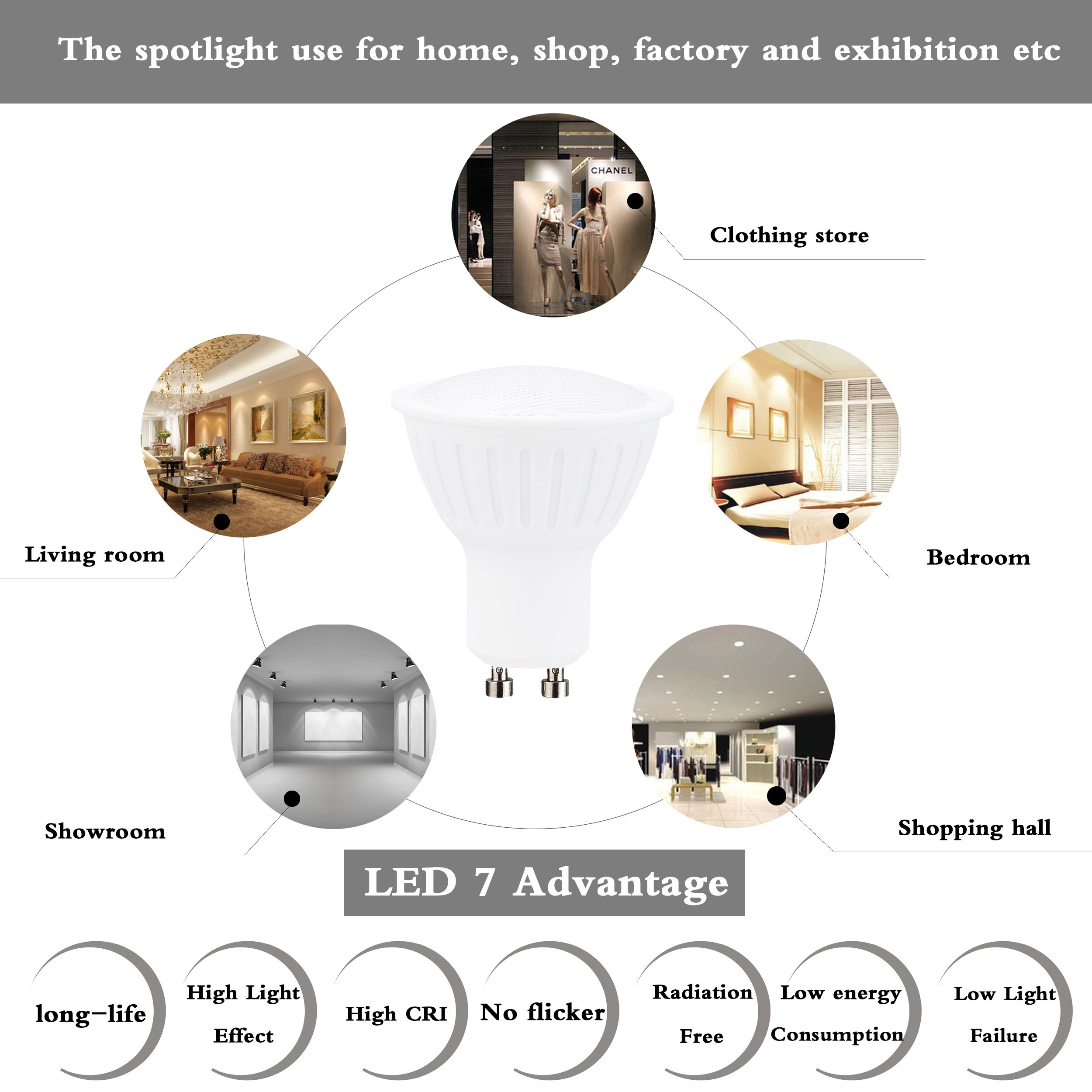 (Pack of 1)3W Dimmable GU10 Led Light bulbs 30W Equivalent, 100% Aluminum Reflector 5000K Daylight White, 120 Degree Beam Angle, CRI>90,Track Lighting, Recessed Light
