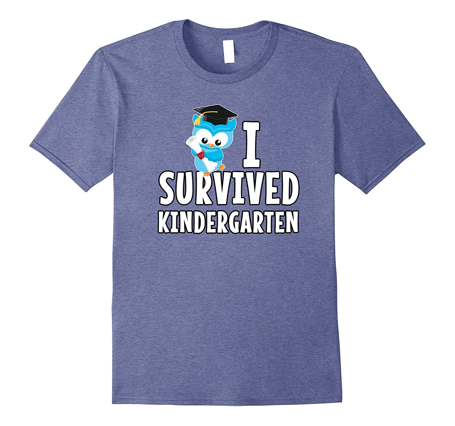 I Survived Kindergarten T-Shirt Graduation Kids Owl Grad-AZP