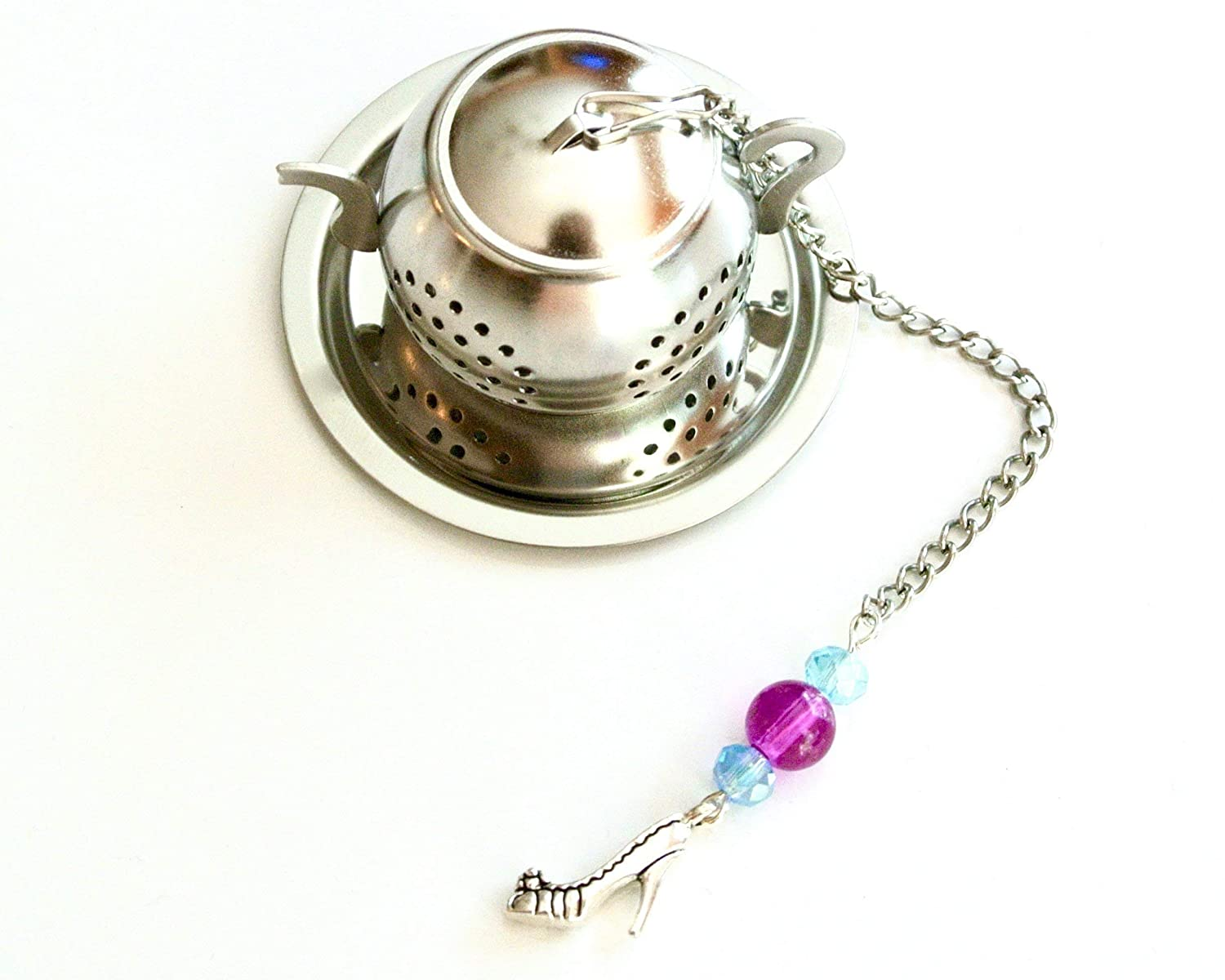 High Heel Shoe Tea Infuser with Pink & Blue Bead