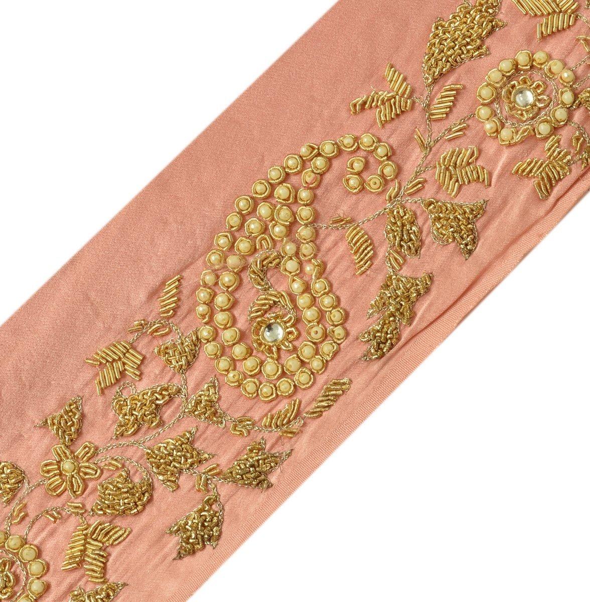 Trim & Edging Good Vintage Sari Border Antique Hand Embroidered Indian Trim Ribbon Peach Lace