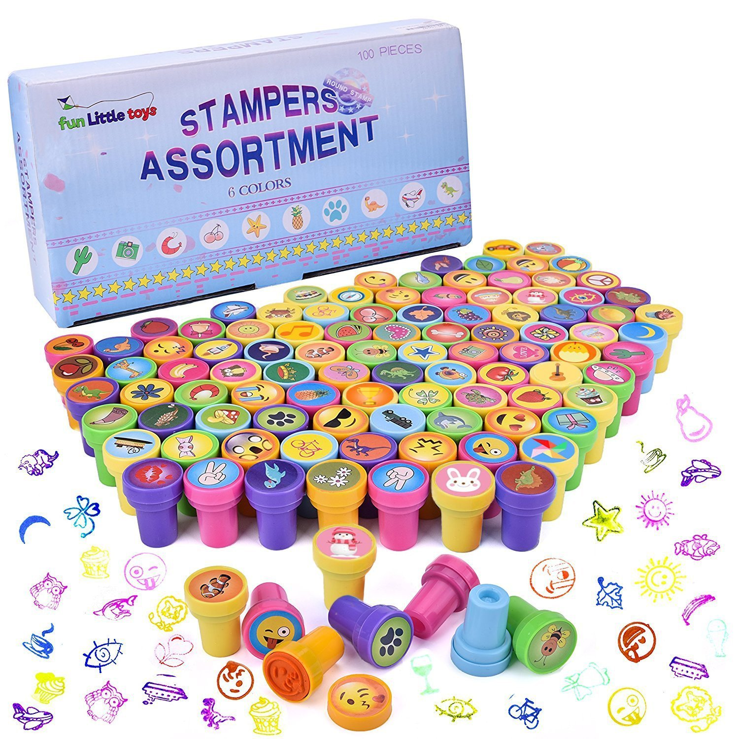 Fun Little Toys 100Pcs Assorted Stamps All in One Box Including 100 Different Designs for Kids Birthday Party Supplies, Pinata Fillers, Carnival Prizes, Goodie Bags