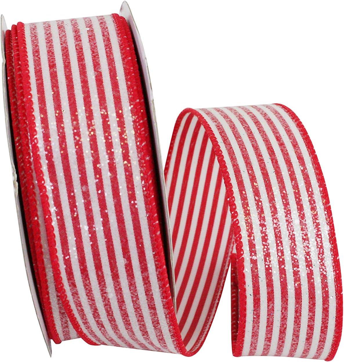 Reliant Ribbon Satin Glitter Hearts 2 Wired Edge Ribbon White 1-1//2 Inch X 20 Yards