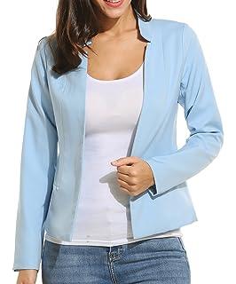 e3fc7de0dd8339 Meaneor Blazer Damen Anzug Sakko Stehkragen mit Taschen kurze Jacke Frühling