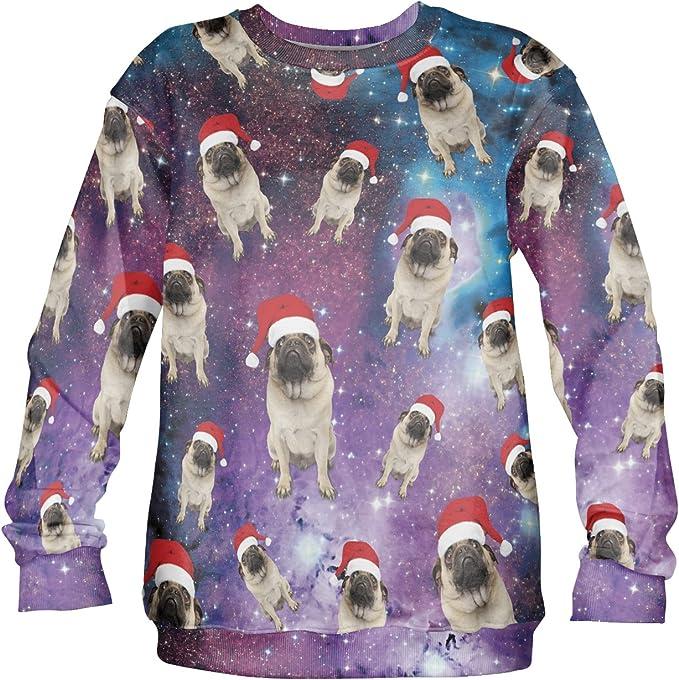 Bah Humpug Christmas Sweater Jumper Sweatshirt Xmas Funny Pug Dog Ugly Knit Gift