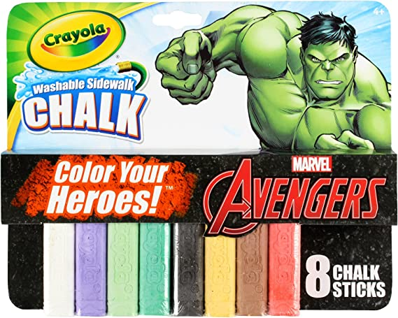 Incredible Hulk Theme Pack 8 Count Crayola Washable Sidewalk Chalk Marvel Avengers