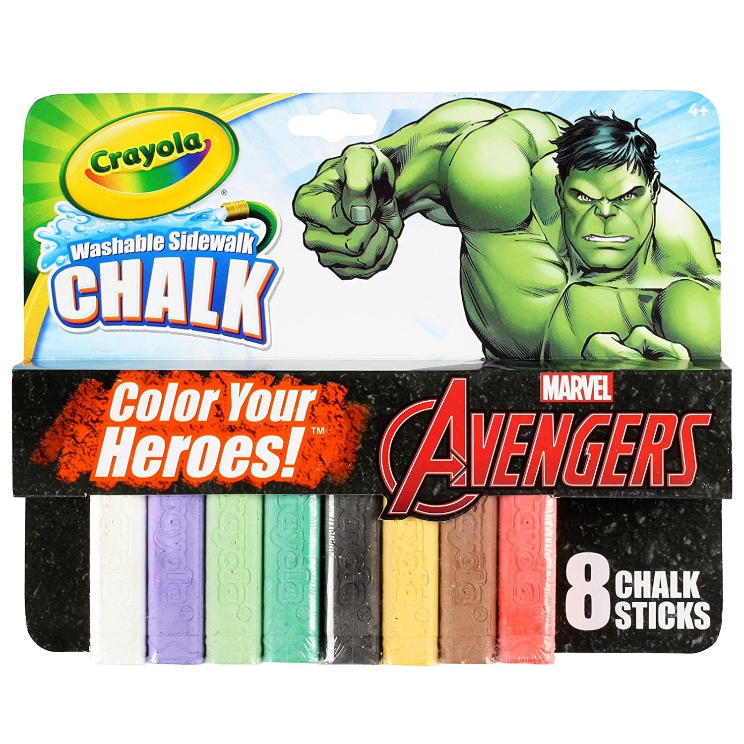 Crayola Washable Sidewalk Chalk Marvel Avengers Incredible Hulk Theme Pack 8 Count 03-5304