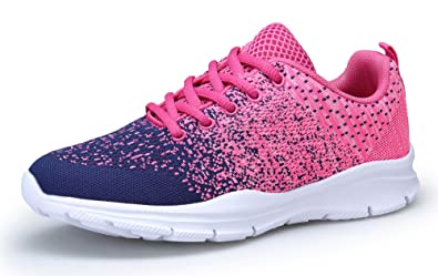 KOUDYEN Chaussures de Sport Course Femme Basket Lacets Fitness Confortable Sneakers Trail Running Shoes (EU40, Rose Bleu)